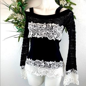Inc Int Concepts Cold shoulder ribbed knit & lace